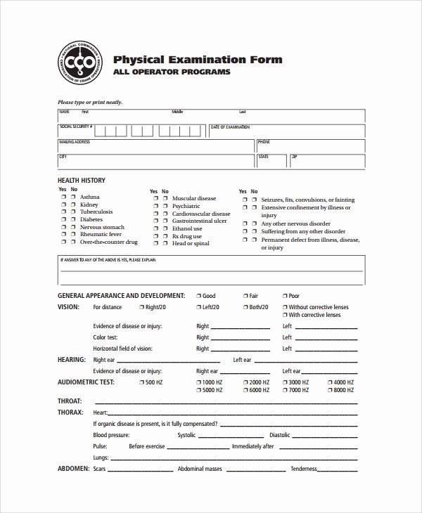 Employment Physical form Template Lovely 9 Sample Physical Exam forms Pdf