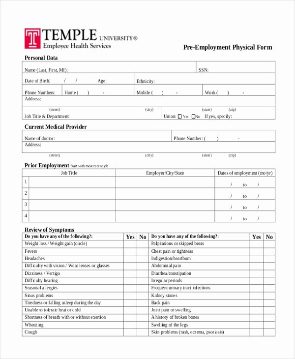 Employment Physical form Template Lovely Free 14 Sample Physical forms In Pdf