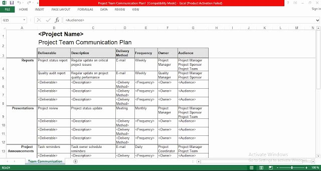 Engineering Project Plan Template Inspirational Project Team Munication Plan Excel Template Free