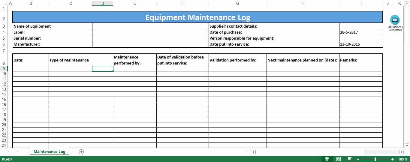Equipment Checkout form Template Excel Awesome Equipment Maintenance Log Template Excel