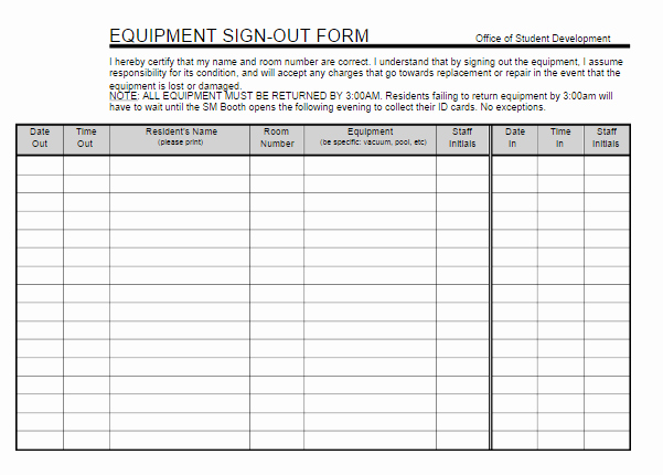 Equipment Checkout form Template Excel Fresh Equipment Sign Out Sheet