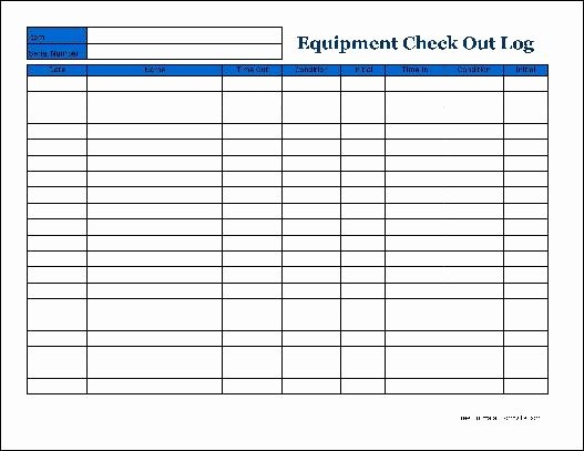 Equipment Checkout form Template Excel Inspirational Free Detailed Equipment Check Out Wide From formville