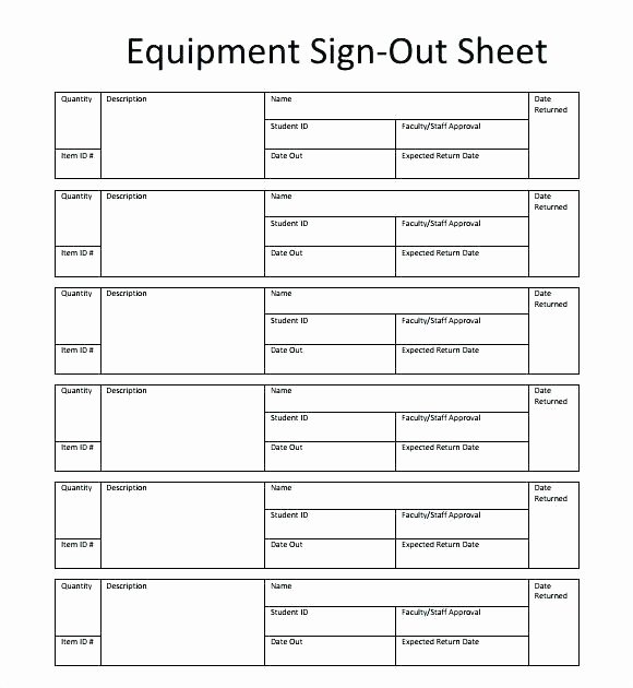 Equipment Checkout form Template Excel Lovely Key Sign Out form Template – Stagingusasportfo