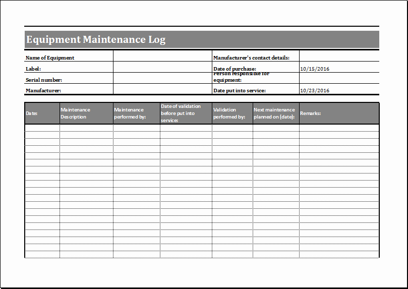 Equipment Maintenance Schedule Template Excel Awesome Maintenance Log Templates