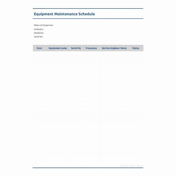 Equipment Maintenance Schedule Template Excel Awesome Maintenance Schedule Templates 35 Free Word Excel Pdf