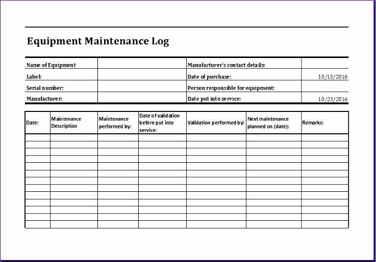 Equipment Maintenance Schedule Template Excel Fresh 8 Product Quality Control Chart Sample Exceltemplates