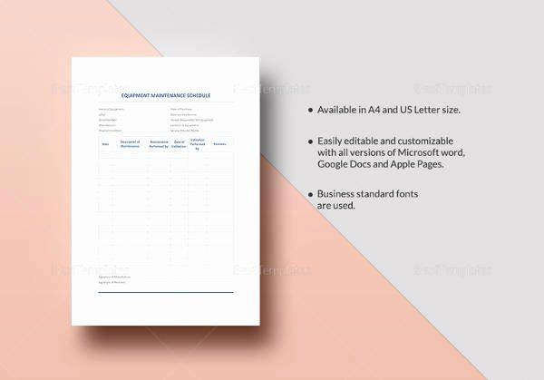 Equipment Maintenance Schedule Template Excel Lovely 39 Preventive Maintenance Schedule Templates Word