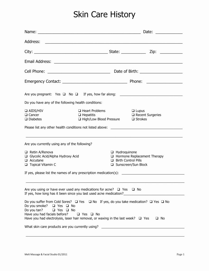 Esthetician Client Consultation form Template Beautiful Facial Intake form Word Doc