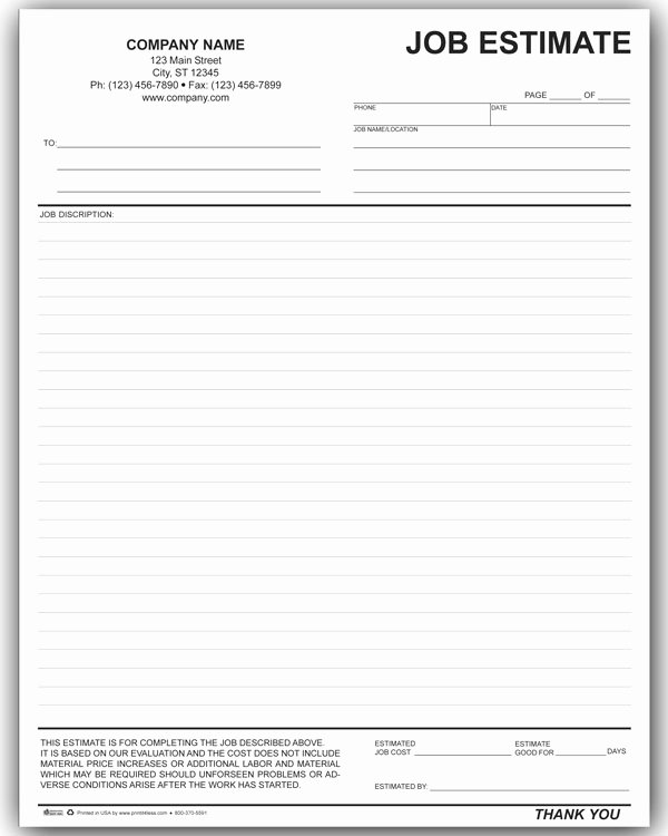 Estimate form Template Free Awesome 10 Job Estimate Templates Excel Pdf formats