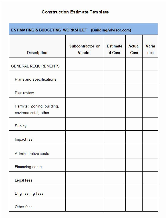 Estimate form Template Free Beautiful 7 Contractor Estimate Templates Pdf Doc