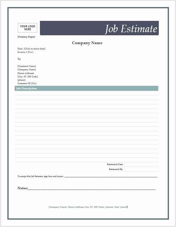 Estimate form Template Free Beautiful Free Job Estimate forms – Word Templates for Free Download