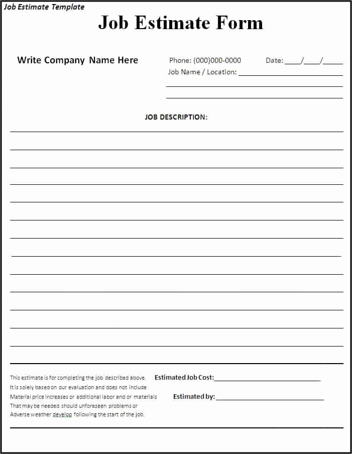 Estimate form Template Free Elegant 10 Job Estimate Templates Excel Pdf formats