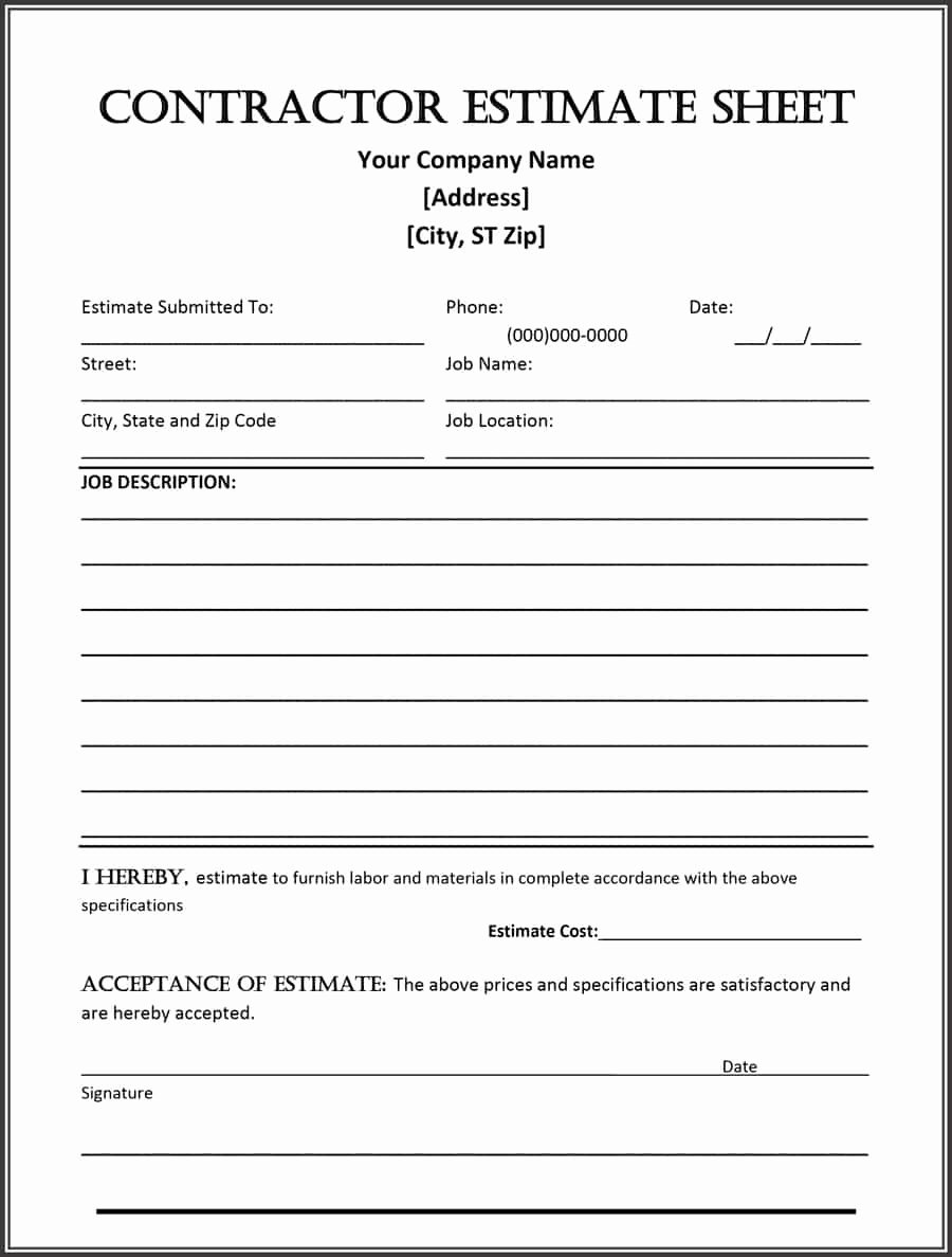 Estimate form Template Free Inspirational Estimate Template