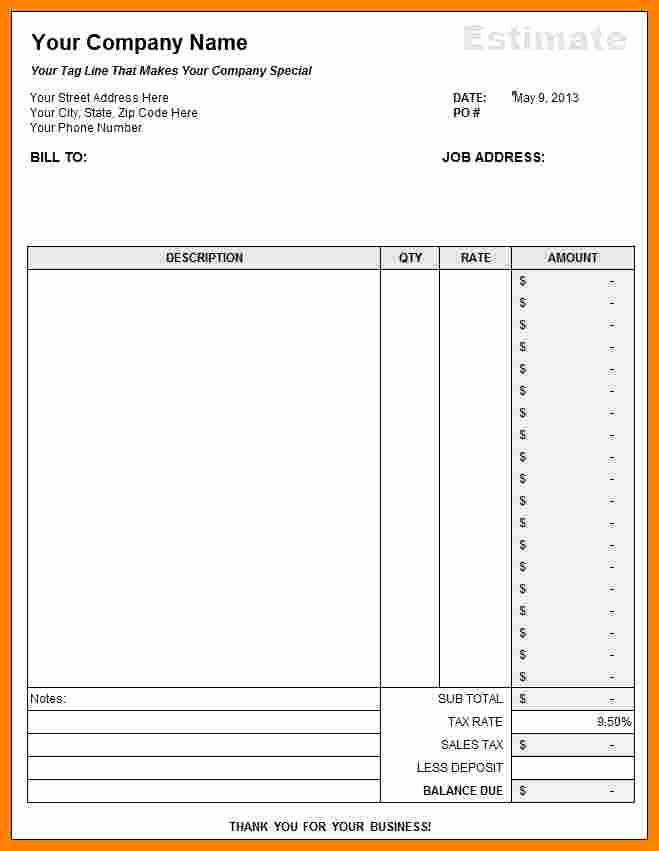 Estimate form Template Free Lovely 7 Free Construction Estimate Template Pdf