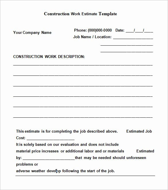 Estimate form Template Free New Free Construction Estimate Templates Collections