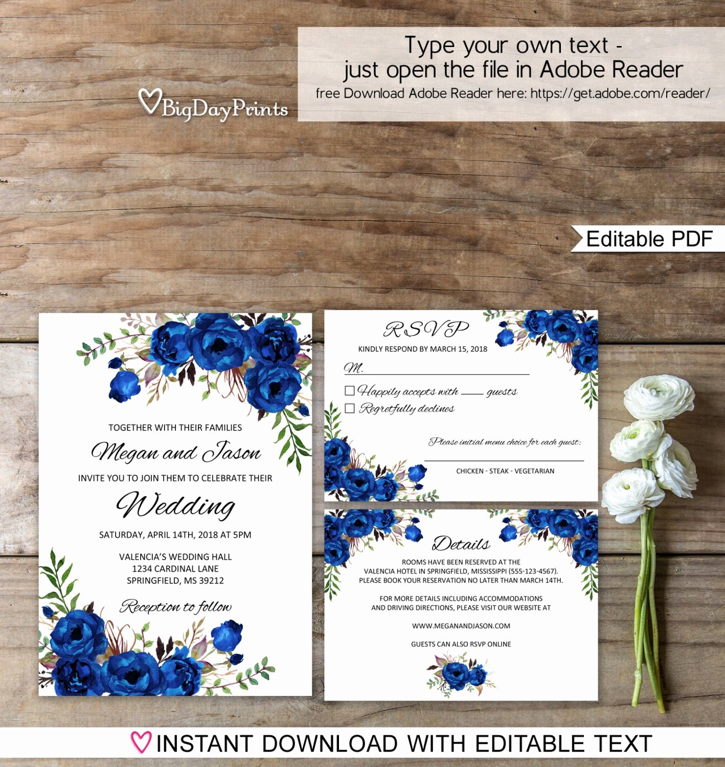 Etsy Wedding Invitation Template Best Of Blue Wedding Invitation Template Royal Blue Wedding