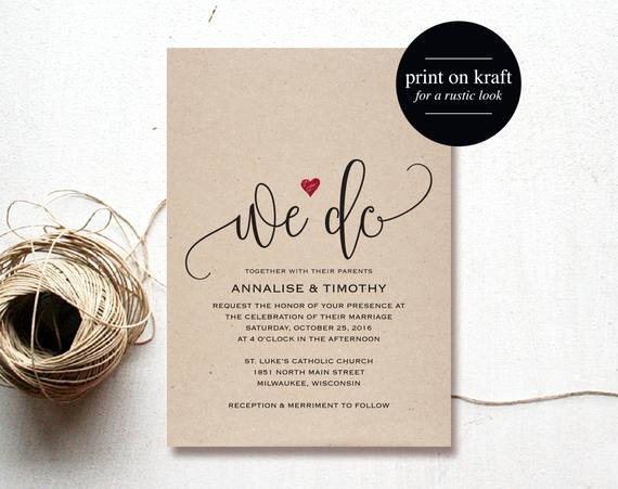 Etsy Wedding Invitation Template Best Of We Do Wedding Invitation Template Rustic by Blisspaperboutique