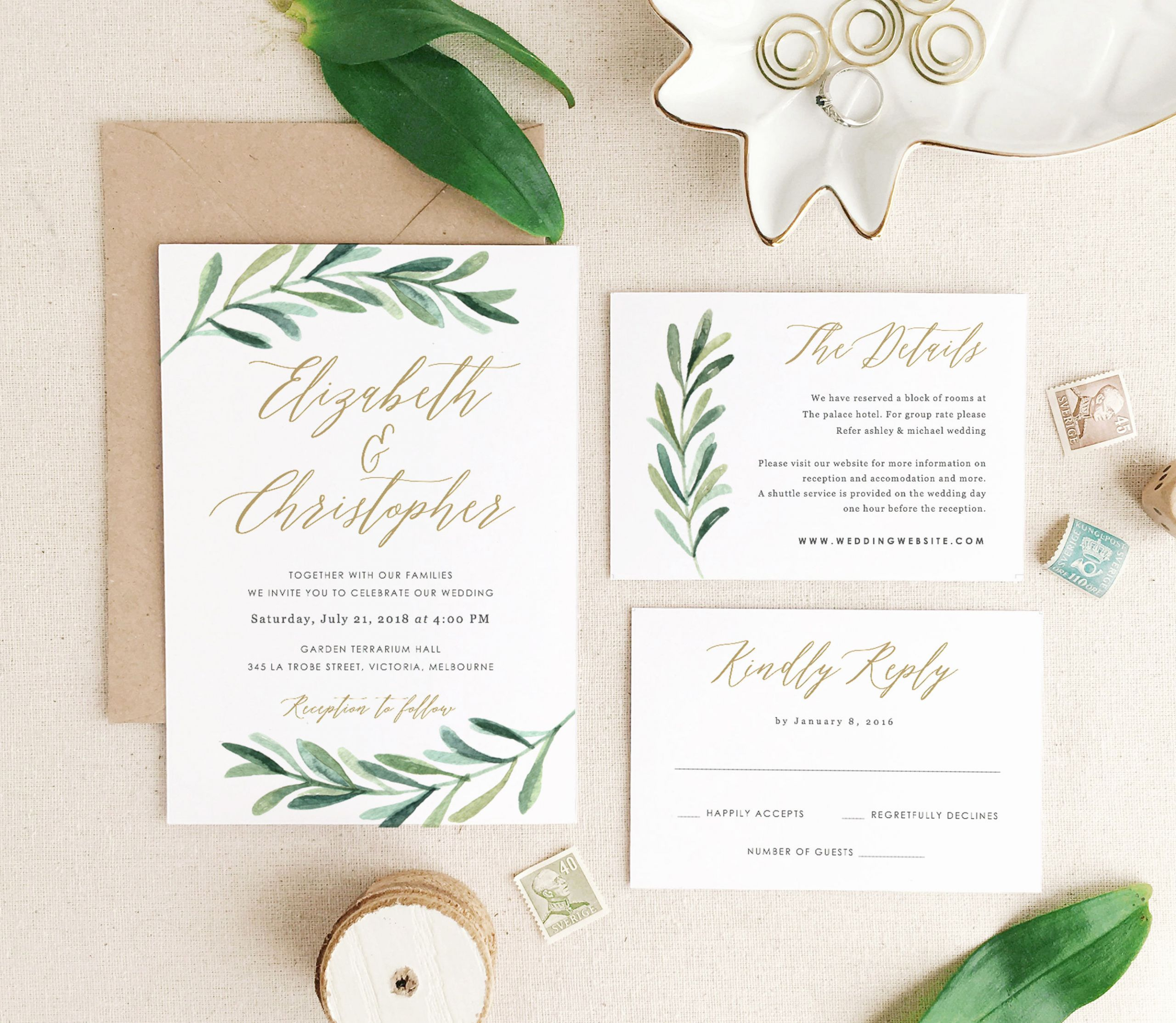 Etsy Wedding Invitation Template Elegant Greenery Wedding Invitation Template Printable Wedding
