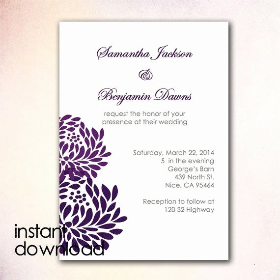 Etsy Wedding Invitation Template Elegant Items Similar to Diy Wedding Invitation Template Instant