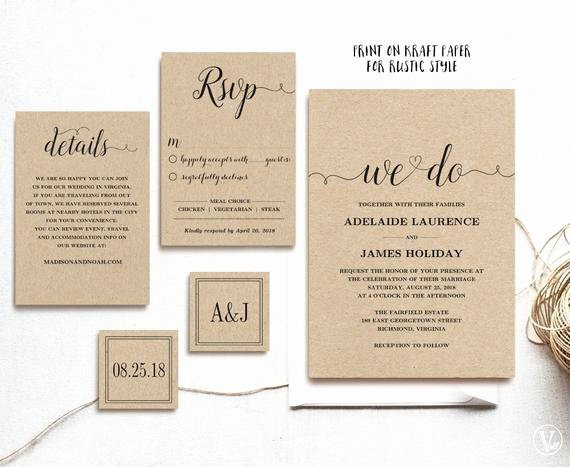 Etsy Wedding Invitation Template Elegant Rustic Wedding Invitation Template 5 Piece by Vinewedding