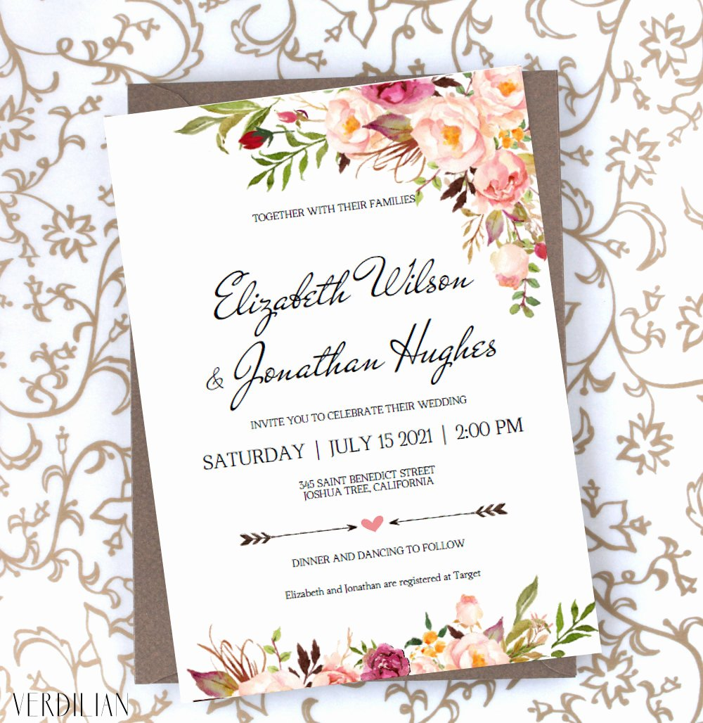 Etsy Wedding Invitation Template Lovely Floral Wedding Invitation Template Blush Rustic Watercolor