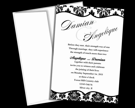 Etsy Wedding Invitation Template Lovely Wedding Invitation Template Black and White Damask Blank