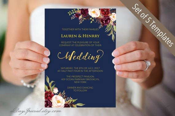 Etsy Wedding Invitation Template Luxury Printable 5 Navy Gold Wedding Invitation Cards Burgundy