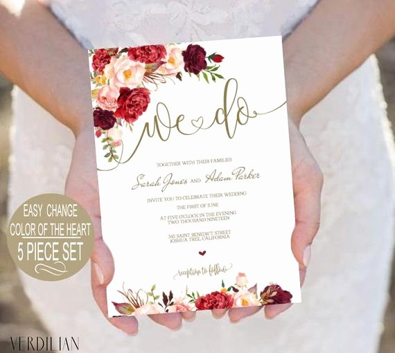 Etsy Wedding Invitation Template Luxury We Do Wedding Invitation Template Burgundy Floral Watercolor