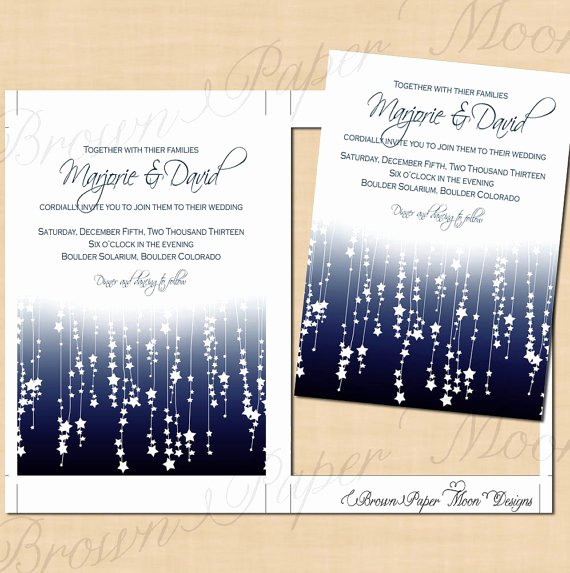 Etsy Wedding Invitation Template New Blue Star Streamers Wedding Invitation Template 5x7