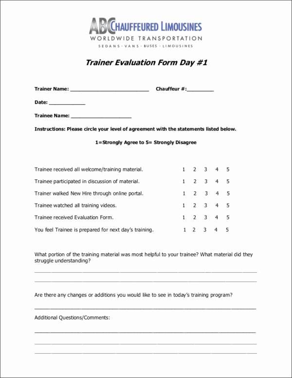 trainer evaluation forms