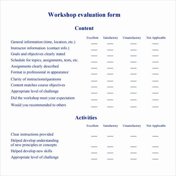 Evaluation form Template Free Elegant Free 10 Sample Workshop Evaluation forms In Pdf