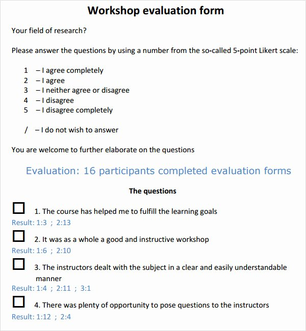 Evaluation form Template Free New Free 10 Sample Workshop Evaluation forms In Pdf