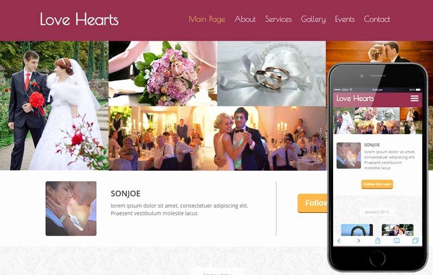 Event Planner Website Template Elegant Love Hearts A Wedding Planner Flat Bootstrap Responsive