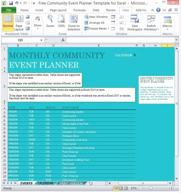 Event Planning Excel Template Awesome Free Munity event Planner Template for Excel
