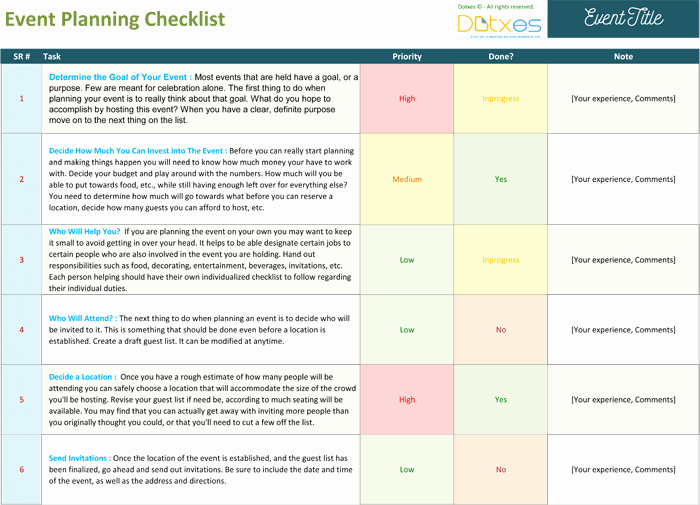 Event Planning Excel Template Beautiful event Planning Checklist to Keep Your event Track