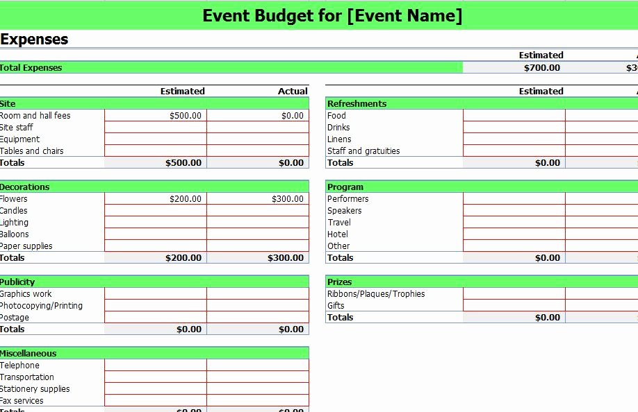 Event Planning Excel Template Luxury event Bud Ing Excel Template