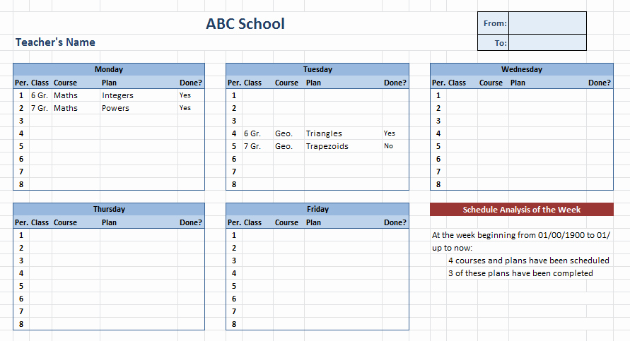 Excel Class Schedule Template Awesome 12 Free Weekly Schedule Templates Ms Word and Ms Excel
