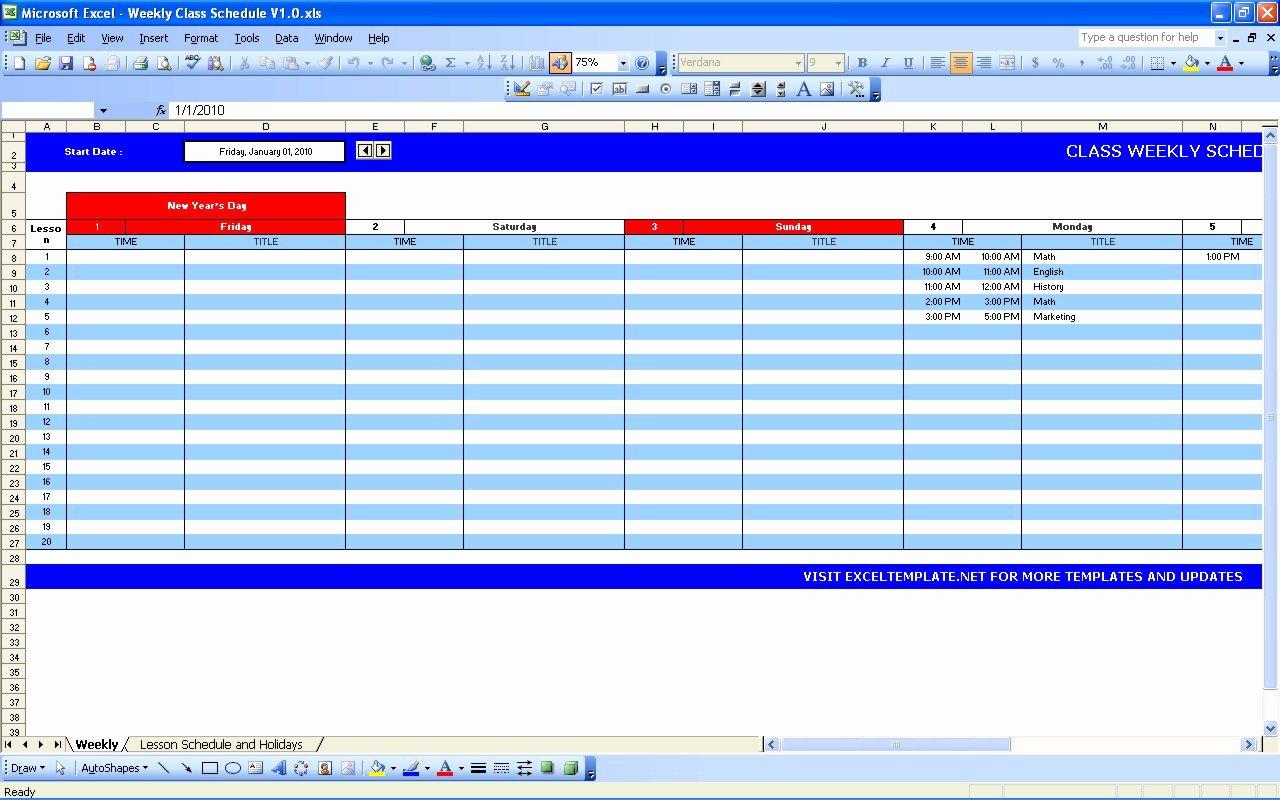 Excel Class Schedule Template Elegant Weekly Class Schedule
