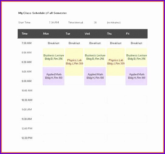 Excel Class Schedule Template Luxury 6 Excel Class Schedule Template Exceltemplates