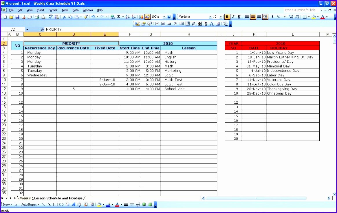 Excel Class Schedule Template New 6 Excel Class Schedule Template Exceltemplates