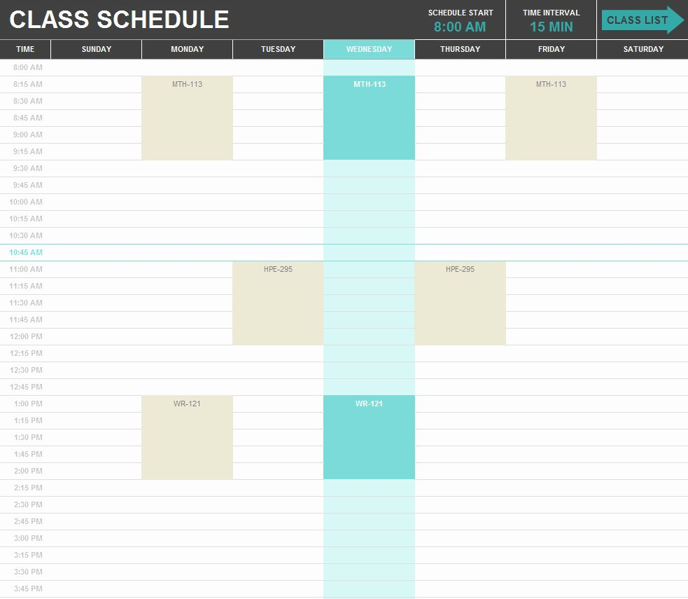 Excel Class Schedule Template Unique Free Excel Templates and Spreadsheets Browse and