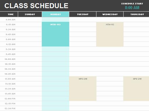 Excel Class Schedule Template Unique Schedules Fice