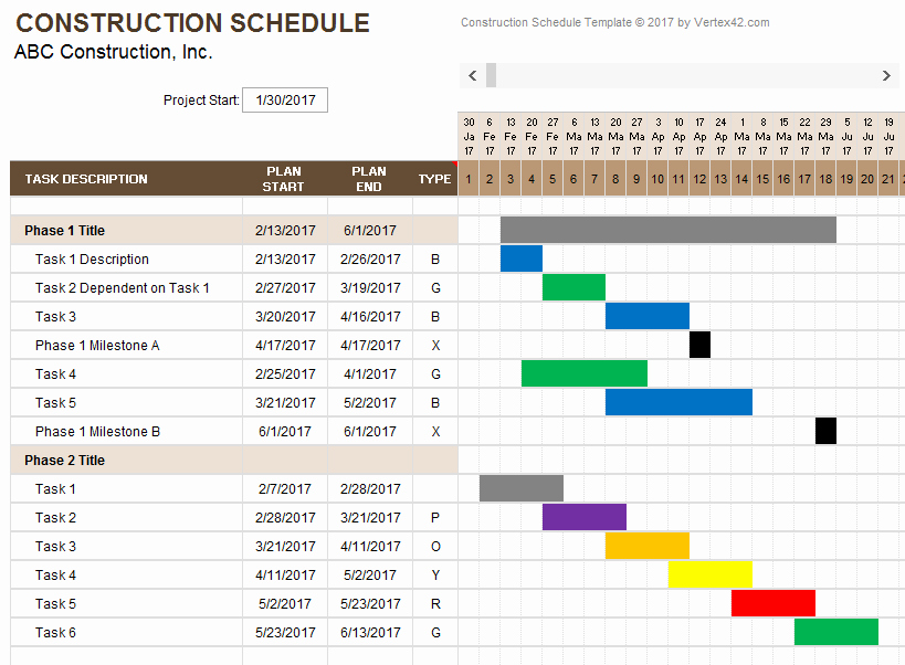 Excel Construction Schedule Template New Construction Schedule Template