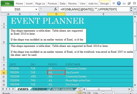 Excel event Planning Template Inspirational Munity events Planner for Excel