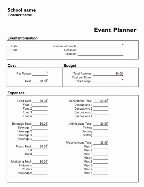 Excel event Planning Template Luxury Useful Microsoft Word & Microsoft Excel Templates