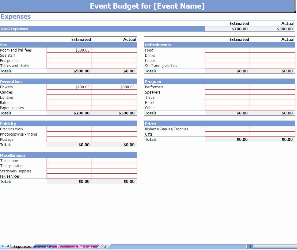 Excel event Planning Template New event Bud Spreadsheet event Bud Ing