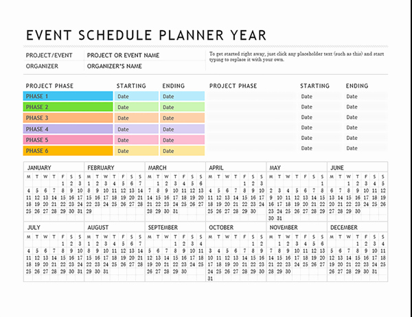 Excel event Planning Template New event Planning Template