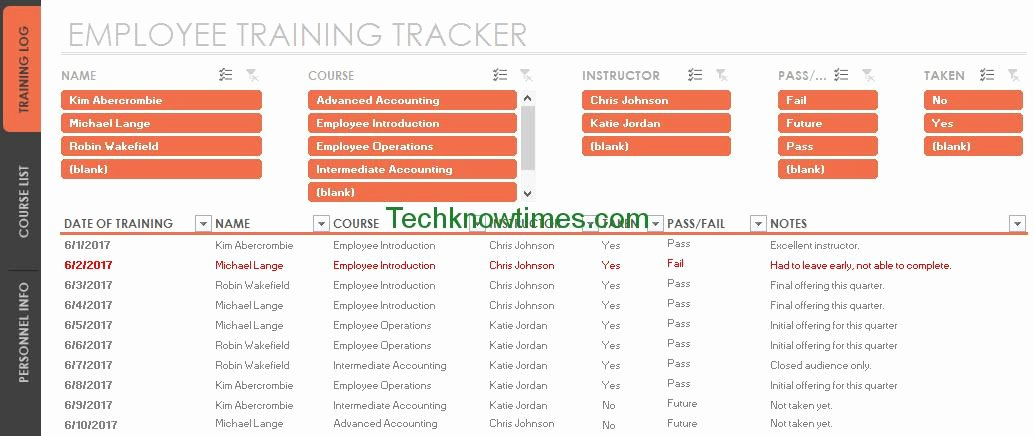 Excel Training Schedule Template Awesome Employee Training Tracker Template Excel
