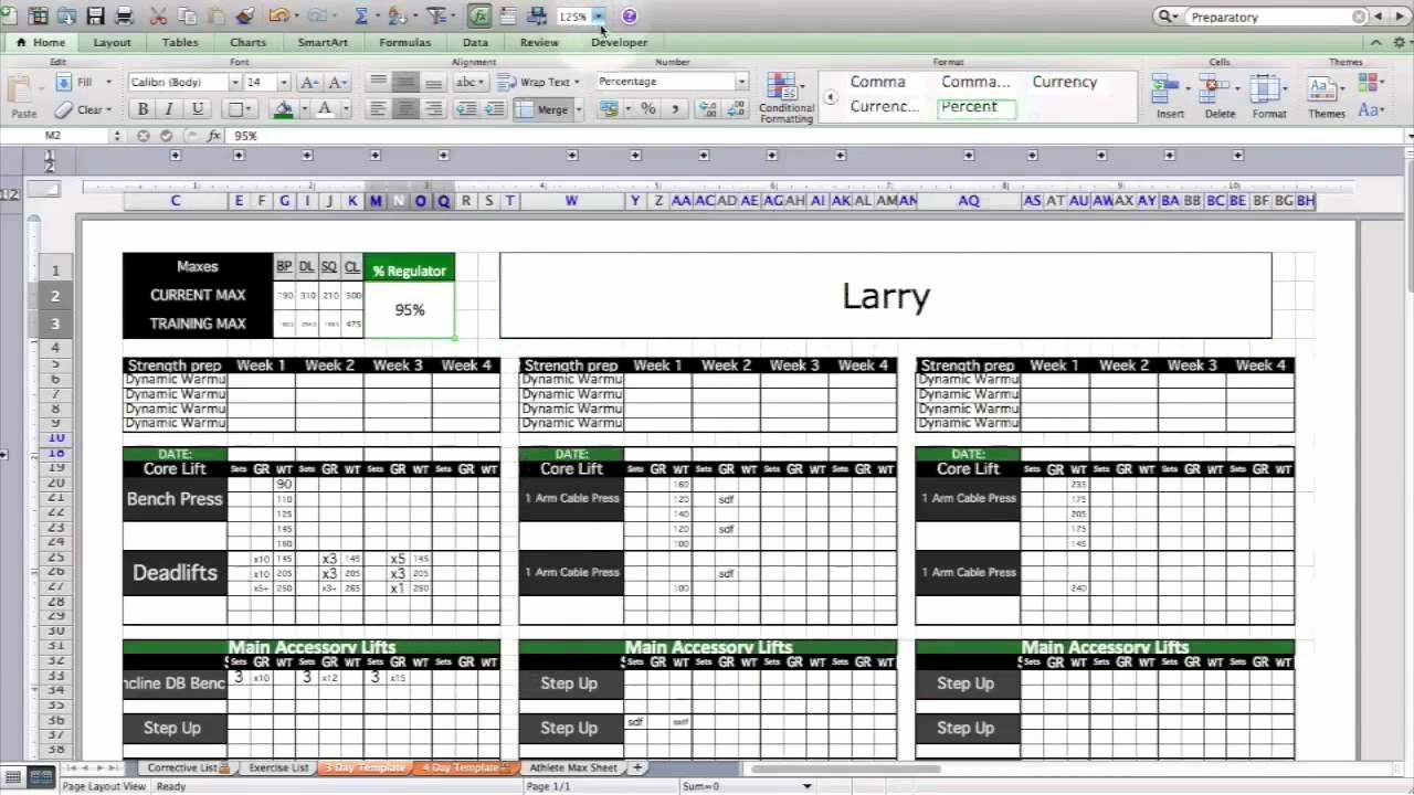 Excel Training Schedule Template Best Of Strength & Conditioning Excel Template Level 1