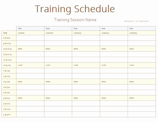 Excel Training Schedule Template Elegant Army Training Schedule Template